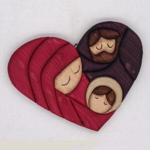 Sacra famiglia a cuore stilizzata