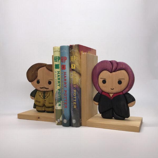Fermalibri in legno a tema Harry Potter, Lupin/Ninphadora