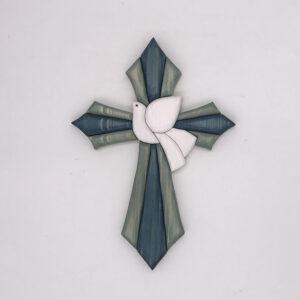 Croce con colomba bianca centrale